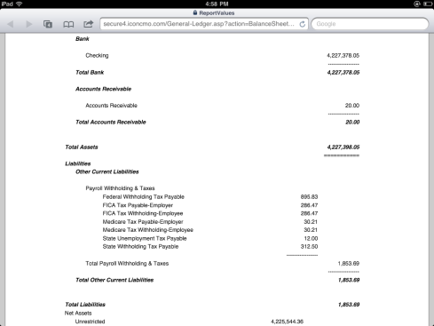 Church Accounting Balance Sheet